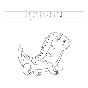 Verfolge das wort. netter karikaturleguan. handschriftpraxis für kinder im vorschulalter.