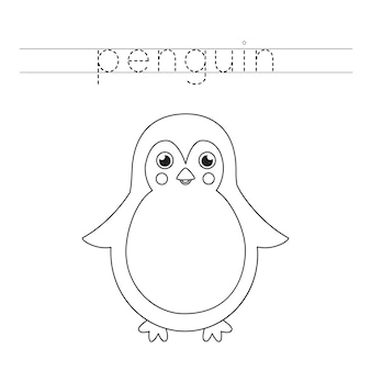 Verfolge das wort. netter pinguin. handschriftpraxis für kinder im vorschulalter.