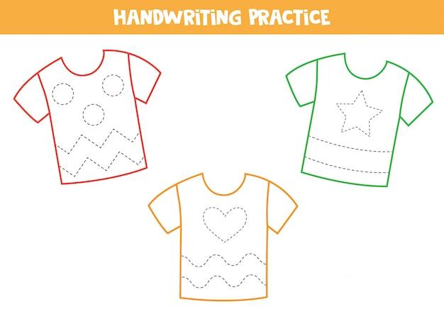 Verfolge die linien auf den t-shirts.