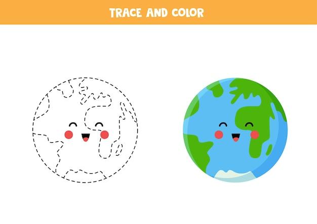 Verfolge und färbe die süße kawaii erde. lernspiel für kinder. schreib- und malpraxis.