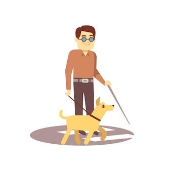Verfolgen sie begleiter und blinder auf dem weg, der auf weißem hintergrund - blinde person und blindenhund lokalisiert wird