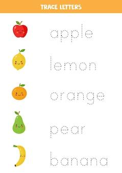 Verfolgen sie die namen der niedlichen früchte. handschriftpraxis für kinder im vorschulalter.