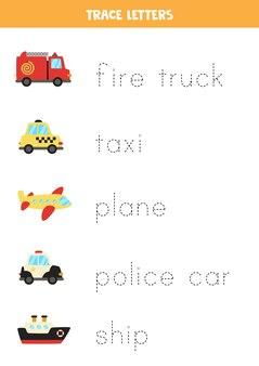 Verfolgen sie die namen der transportmittel für cartoons