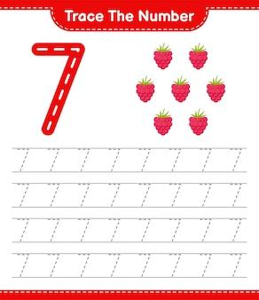 Verfolgen sie die nummer. rückverfolgungsnummer mit himbeeren. pädagogisches kinderspiel, druckbares arbeitsblatt