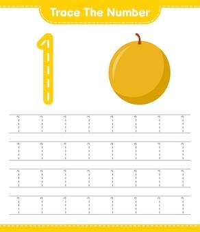 Verfolgen sie die nummer. rückverfolgungsnummer mit honigmelone. pädagogisches kinderspiel, druckbares arbeitsblatt