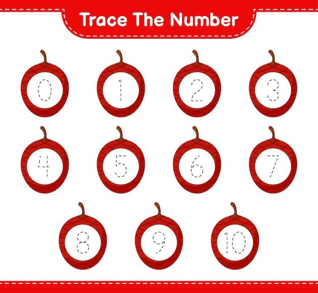 Verfolgen sie die nummer. rückverfolgungsnummer mit ita palm. pädagogisches kinderspiel, druckbares arbeitsblatt