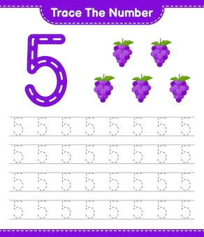 Verfolgen sie die nummer. rückverfolgungsnummer mit traube. pädagogisches kinderspiel, druckbares arbeitsblatt