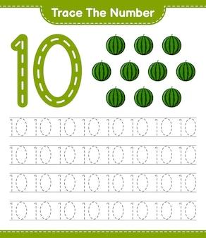 Verfolgen sie die nummer. rückverfolgungsnummer mit wassermelone. pädagogisches kinderspiel, druckbares arbeitsblatt
