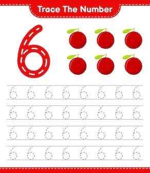 Verfolgen sie die nummer. rückverfolgungsnummer mit yumberry. pädagogisches kinderspiel, druckbares arbeitsblatt