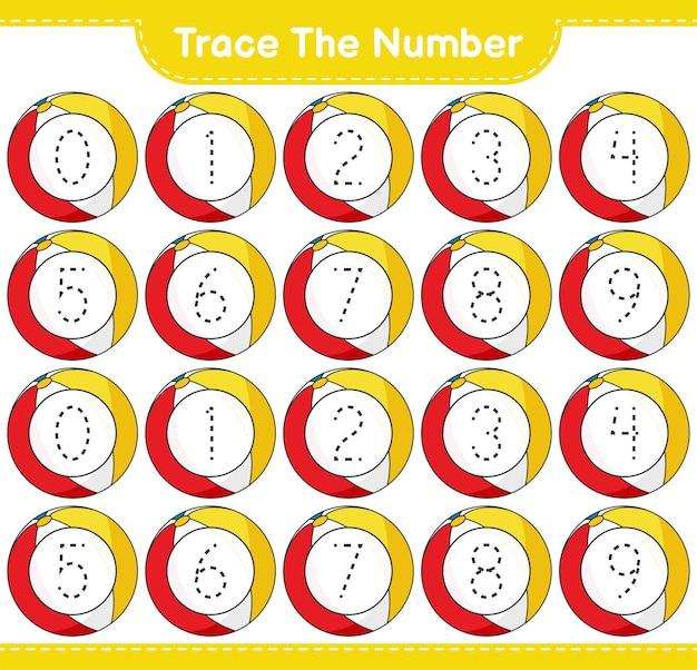 Verfolgen sie die nummer tracing-nummer mit beach ball educational kinderspiel zum ausdrucken arbeitsblatt