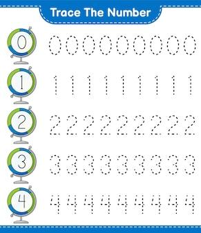 Verfolgen sie die nummer tracing-nummer mit globe educational kinderspiel druckbares arbeitsblatt