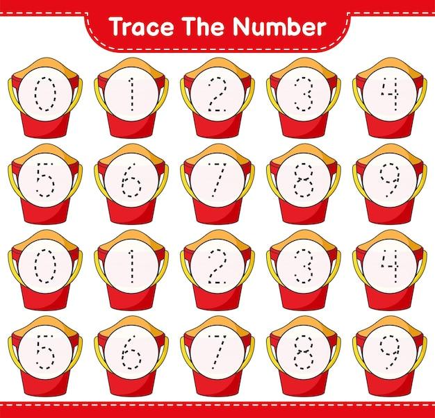 Verfolgen sie die nummer tracing-nummer mit sand bucket pädagogisches kinderspiel druckbares arbeitsblatt