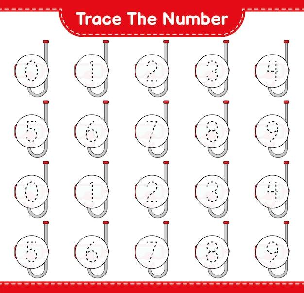 Verfolgen sie die nummer tracing-nummer mit scuba diving mask lernspiel für kinder
