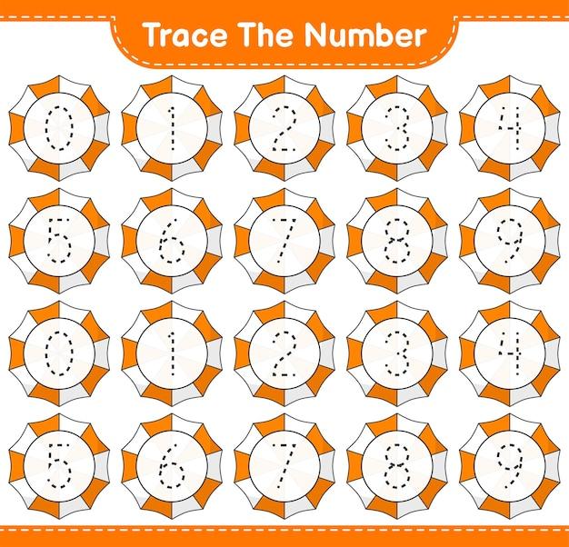 Verfolgen sie die nummer tracing-nummer mit strandschirm pädagogisches kinderspiel zum ausdrucken arbeitsblatt