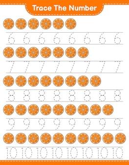 Verfolgen sie die nummer verfolgen sie die nummer mit dem druckbaren arbeitsblatt für das orange educational kinderspiel