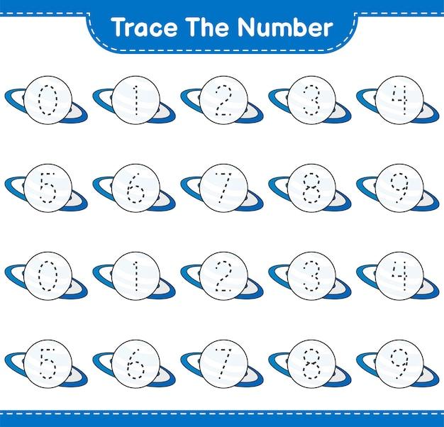 Verfolgen sie die nummer verfolgen sie die nummer mit dem druckbaren arbeitsblatt für das pädagogische kinderspiel von summer hat