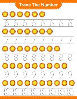 Verfolgen sie die nummer verfolgen sie die nummer mit dem druckbaren arbeitsblatt für das pädagogische kinderspiel von sun