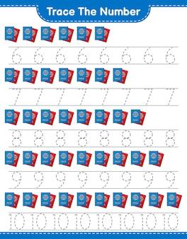 Verfolgen sie die nummer verfolgen sie die nummer mit dem reisepass bildungsarbeitsblatt für kinder zum ausdrucken