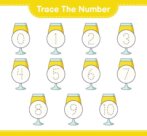 Verfolgen sie die nummer verfolgen sie die nummer mit einem druckbaren arbeitsblatt für das pädagogische kinderspiel des cocktails