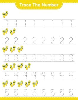 Verfolgen sie die nummer verfolgen sie die nummer mit flip flop pädagogisches arbeitsblatt für kinder zum ausdrucken