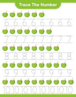 Verfolgen sie die nummer verfolgen sie die nummer mit kokosnuss pädagogisches kinderspiel zum ausdrucken
