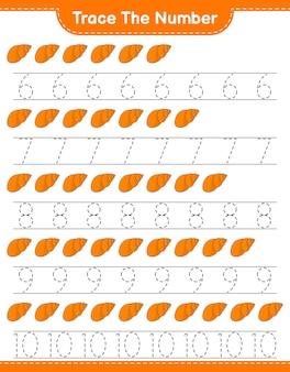 Verfolgen sie die nummer verfolgen sie die nummer mit sea shells pädagogisches arbeitsblatt für kinder zum ausdrucken