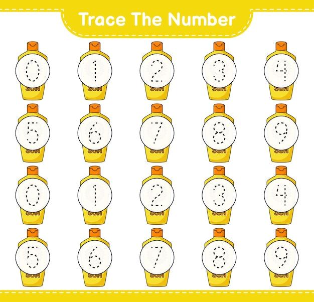Verfolgen sie die nummer verfolgen sie die nummer mit sonnencreme lernfähiges arbeitsblatt für kinder zum ausdrucken