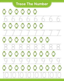 Verfolgen sie die nummer verfolgen sie die nummer mit uhren pädagogisches arbeitsblatt für kinder zum ausdrucken