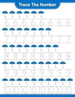 Verfolgen sie die nummer verfolgen sie die nummer mit umbrella pädagogisches kinderspiel zum ausdrucken des arbeitsblatts