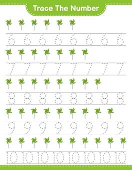 Verfolgen sie die nummer verfolgen sie die nummer mit windrädern pädagogisches kinderspiel druckbares arbeitsblatt