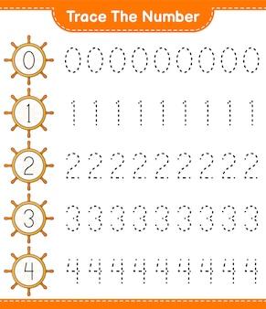 Verfolgen sie die nummer verfolgungsnummer mit dem schiffslenkrad lernspiel für kinder