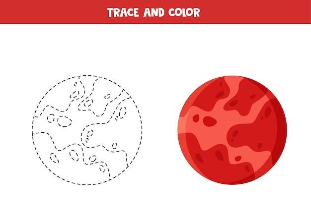 Verfolgen und färben sie das lernspiel des roten planeten mars für kinder