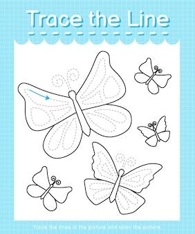 Verfolgen und färben sie das linienarbeitsblatt für kinder im vorschulalter - schmetterlinge Premium Vektoren
