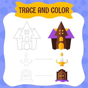 Verfolgen und färben sie gruselige halloween-gegenstände - lehrarbeitsblatt.