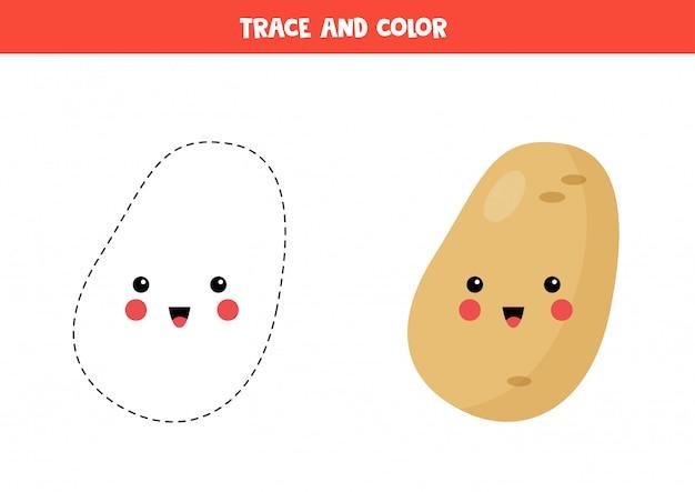 Verfolgen und färben sie niedliche kawaii kartoffel. malvorlagen für kinder.