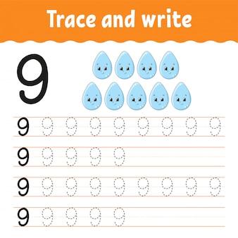 Verfolgen und schreiben. handschrift-praxis. zahlen lernen für kinder. arbeitsblatt zur bildungsentwicklung.