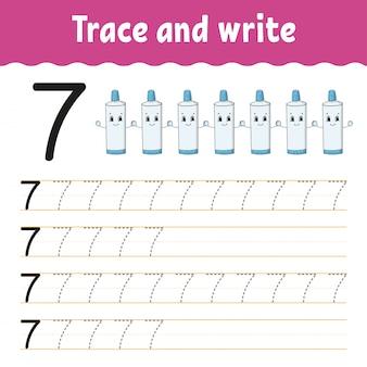 Verfolgen und schreiben. handschrift-praxis. zahlen lernen für kinder.