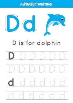 Verfolgung aller buchstaben des englischen alphabets. vorschulaktivität für kinder. schreiben von groß- und kleinbuchstaben d. nette illustration des delfins. druckbares arbeitsblatt.
