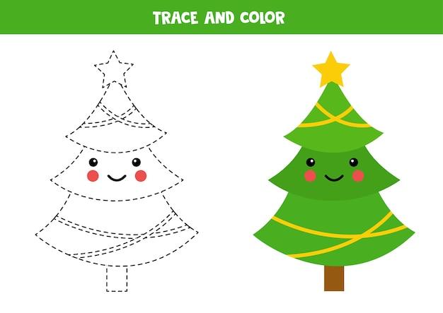 Verfolgung und färbung des kawaii weihnachtsbaumes. schreibfähigkeiten üben.