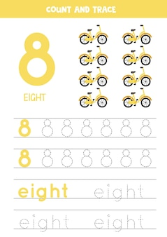 Verfolgung von nummer 8 und dem wort acht. handschriftpraxis für kinder mit fahrrädern.