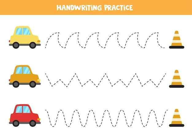Verfolgungslinien für kinder mit bunten autos. handschriftpraxis für kinder.