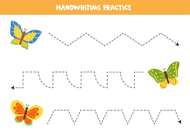 Verfolgungslinien für kinder mit bunten schmetterlingen. handschriftpraxis für kinder.