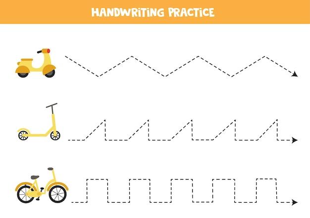 Verfolgungslinien für kinder mit cartoon-moped, roller und fahrrad. handschriftpraxis für kinder.