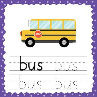 Verfolgungswort - bus-flash-karte für kleinkinder. arbeitsblatt zur rückverfolgungspraxis. schreiben sie die drei-buchstaben-wortübung für kinder im vorschulalter. vektorillustration