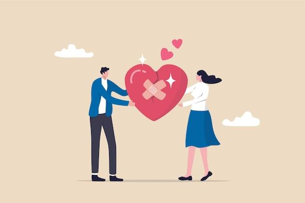 Vergebung, um die beziehung lange zu halten, zusammengehörigkeits- oder liebespaarkonzept, glücklicher mann und frau, ehemann und ehefrau mit verband auf gebrochener herzform als symbol der vergebung.