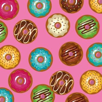 Verglaste set donuts süß mit rosa hintergrund