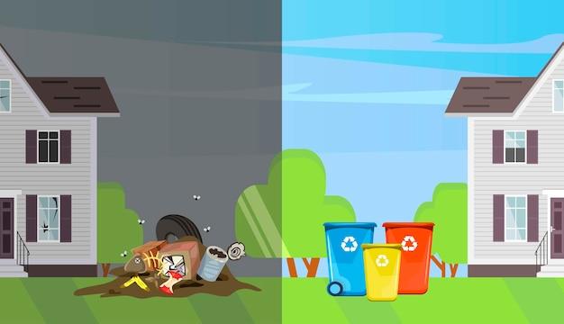 Vergleich von sauberer und schmutziger straße.