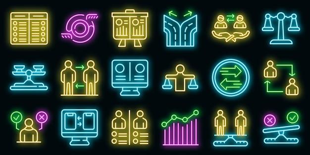Vergleichssymbole gesetzt. umrisse von vergleichsvektorsymbolen neonfarbe auf schwarz