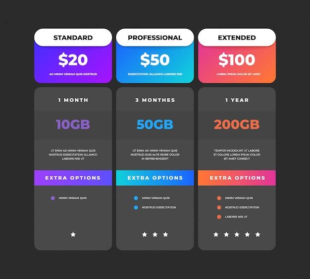Vergleichstabelle. business-preisdiagramm web-banner, website-tarifplan-entwurfsvorlage, checklistenraster. preisvergleichstabellen menü vergleichende kreative infografik