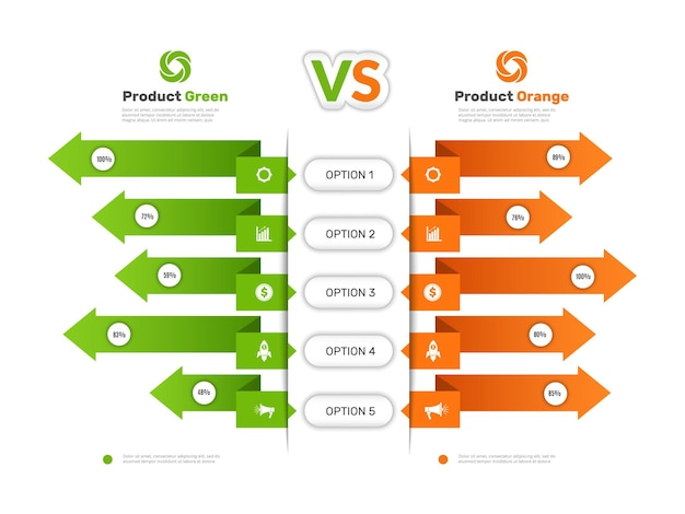 Vergleichstabelle. infografik-tabelle mit vergleichen business-info-produkte vergleich tarif preisliste vektor-präsentation. infografik-vergleich, diagrammtabelle